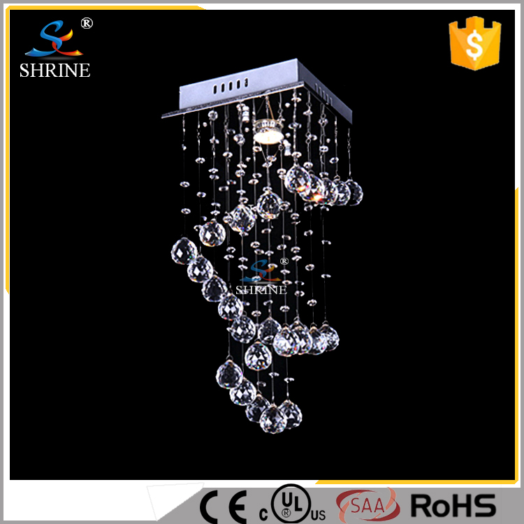 110 Voltage Small Crystal Spiral Chandelier For Bedroom