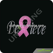 Believe pink ribbon rhinestone iron on transfers