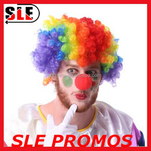 Party cheap rainbow clown wig and red foam nose