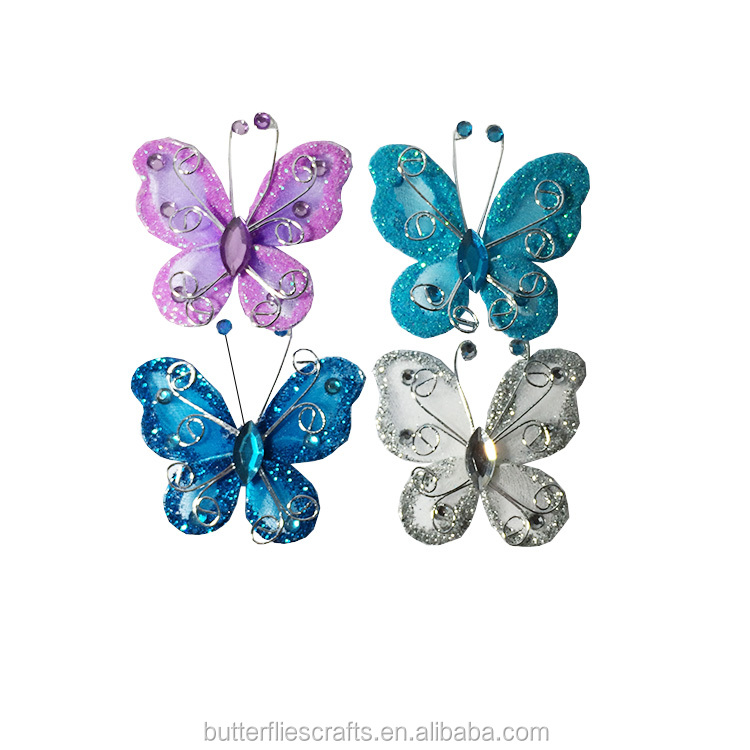 Handmade Nylon Glitter Butterfly for floral arrangement and wedding decorations