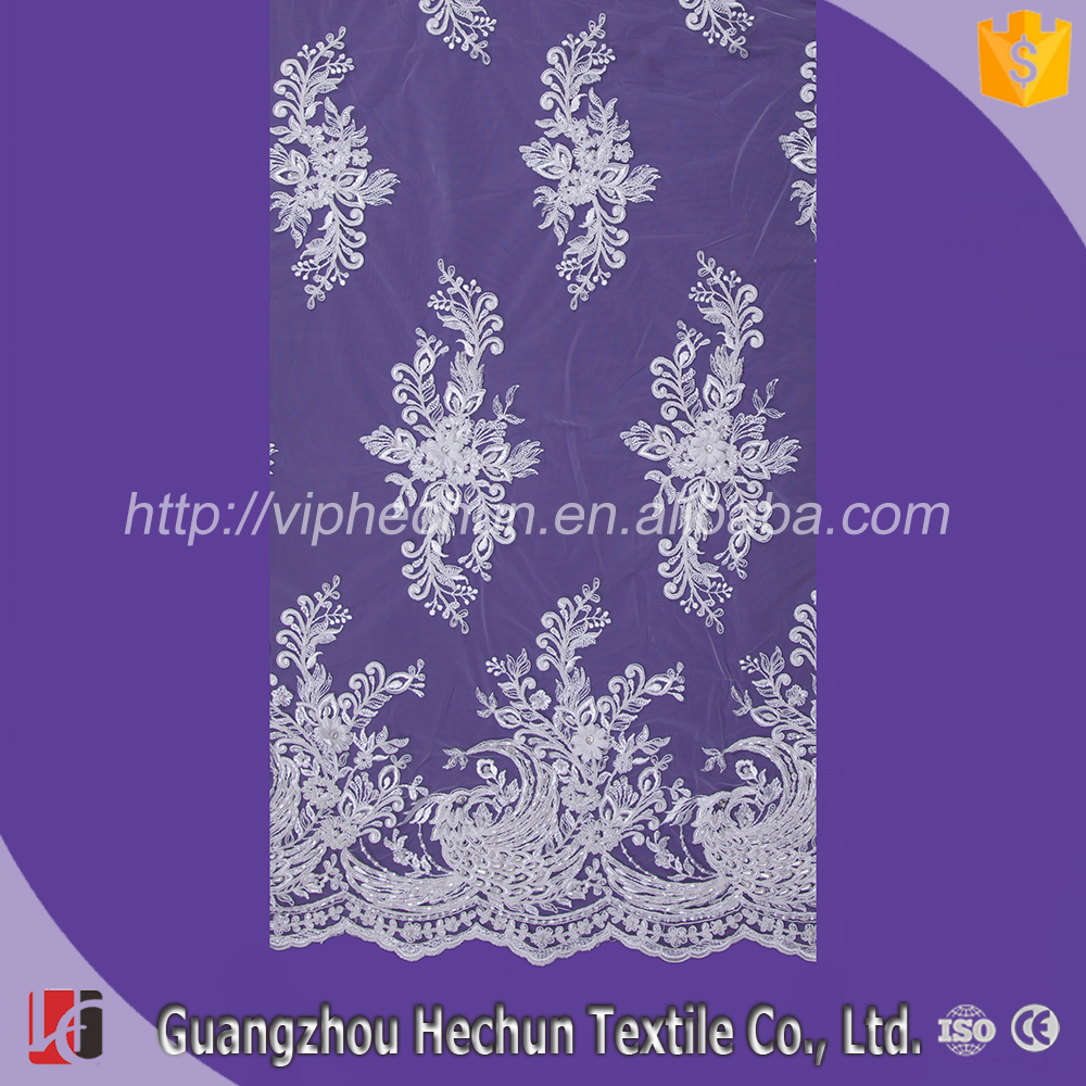 HC-3426 Hechun Hand Embroidery Designs Guangzhou African Guipure Lace Fabric