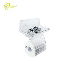 Traceless Wall Mount Tissue Paper Holder Bathroom Plastic Toilet Paper Roll Holder with Phone Tray