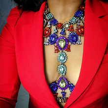 Exaggerated Statement Rhinestone Body Chain Jewelry Chunkey Necklace Costume Jewelries for Lady