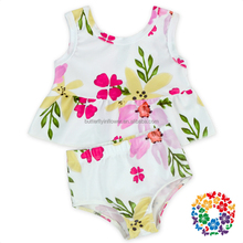 cute floral ruffle top bloomer set baby girls summer bathing suit