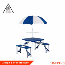 Wholesale suitcase 4 seat portable aluminum foldable outdoor camping folding picnic table with umbrella hole