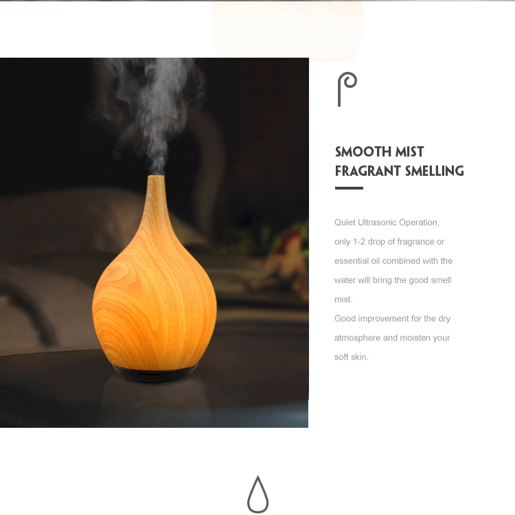 Electric Aroma Essential Oil Diffuser With Wooden Grain Ultrasonic Aroma Diffuser