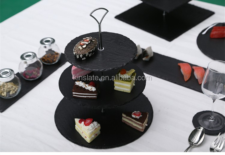 Party cake decoration stand cake tools 3 tier slate cake stand wholesale