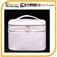 White leather cosmetic box makeup kit