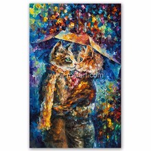 Wall Art Canvas Thick Painted Oil Paintings of Cat Kiss Knife Painting