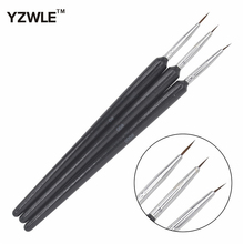 YZWLE 3PCS/Set Fashion Professional Wood Handle Kolinsky Hair DIY Nail Art Drawing Painting Brush Styling Pen Tools For Manicure