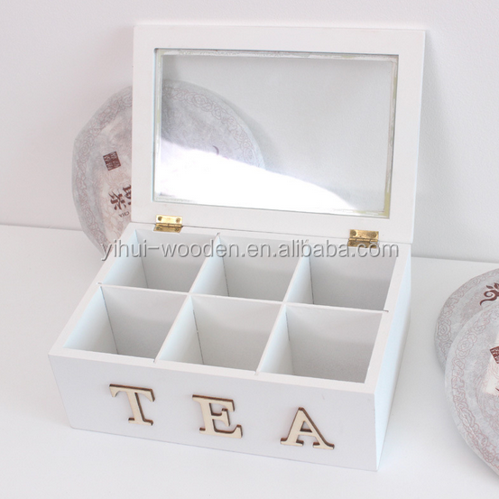 Wooden Tea Compartment Box with hinged lid