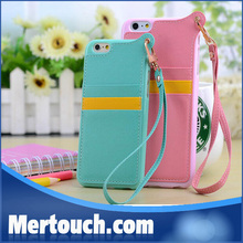 Sunny girl pendant leather mobile phone case for iphone 6 iphone 6 plus with card Hold