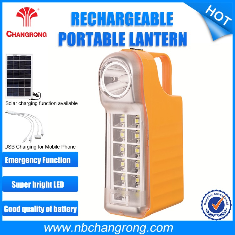 With mobile phone charger Rechargeable Ce Emergency Solar Portable Lantern