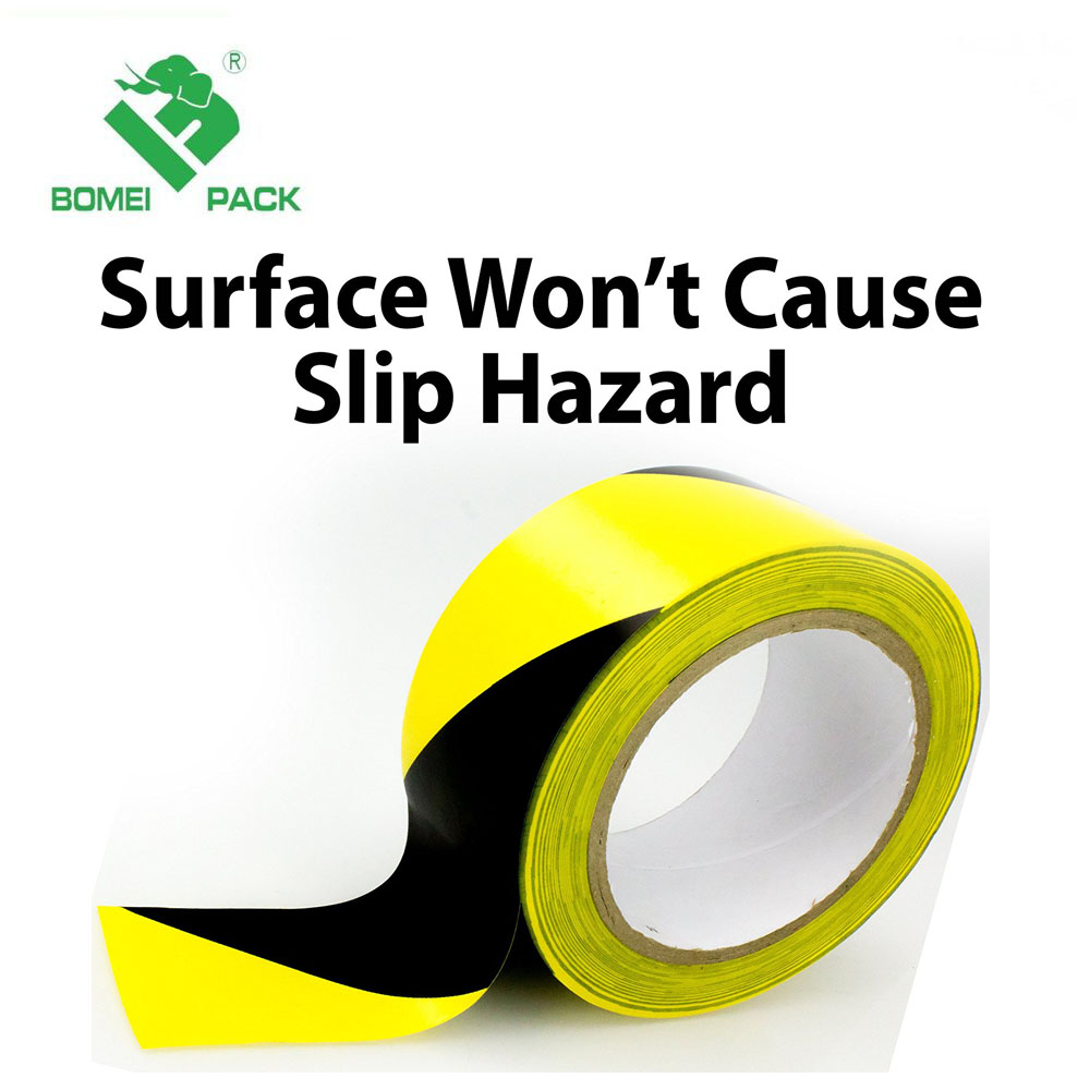 PVC Red / Black / Yellow Adhesive Hazard Tape Detectable Warning Safety Road Marking Tape