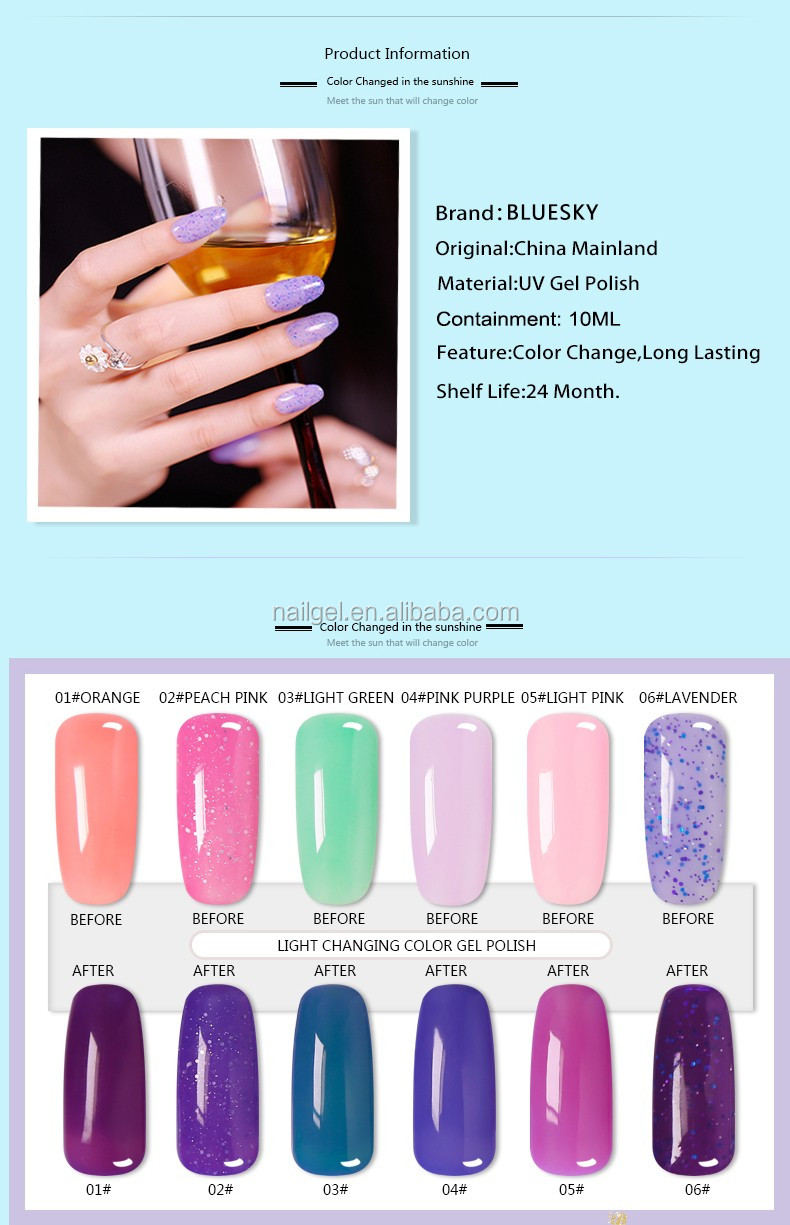 Bluesky New Arrival Charming Color Light Changing Gel 2017 Private Label Nail Polish Manufacturers
