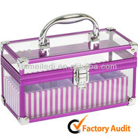 2013Purple Aluminum Acrylic Makeup Case Kit With tray MLD-CC80