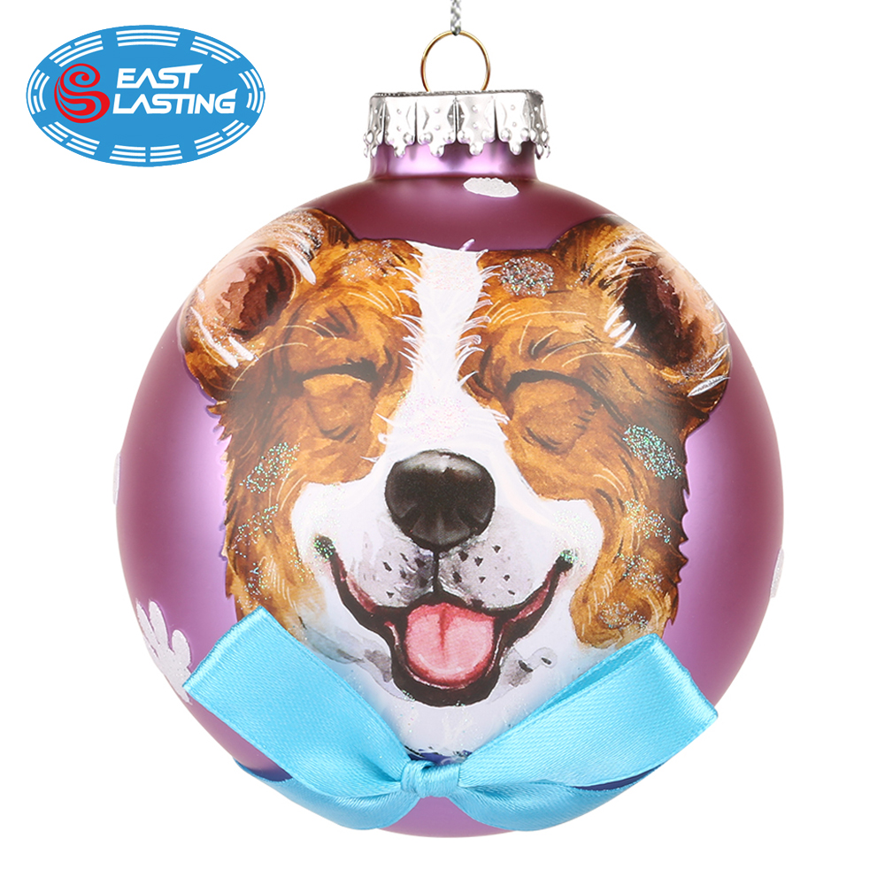 Hand blown ball snow Christmas dog tree ornaments wholesale