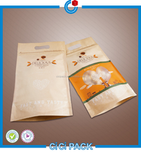 Resealable Snack Stand up Zipper Pouch Plastic Aluminum Foil Lined Coated Brown Kraft Paper Bags for Food Packaging