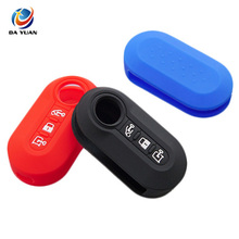 AS080004 Silicone car key fob Shell Cover Case skin hood holder for FIAT Flip Folding remote keyless protected