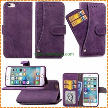 Scrub texture PU leather phone case for iphone 6 6s plus with rotating card slots