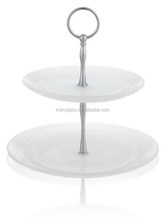White Glass cake plate set, 2 layer cake set with stand ,wedding cake server set