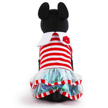 Hot Selling XXS Puppy Clothes Red Blue Striped Princess Dog Dresses with Redlip Collar
