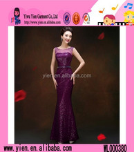 2015 fashion factory direct fishtail evening dress original selling cheaper ladies Sequins party dress evening dress