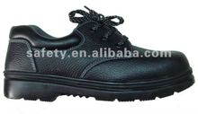 Laced up working shoes feet protective steel toe cap and steel mid sole leather