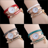 2016 New Women Ladies Faux Leather Crystal Bracelet Quartz Analog ladies fancy Wrist Watch