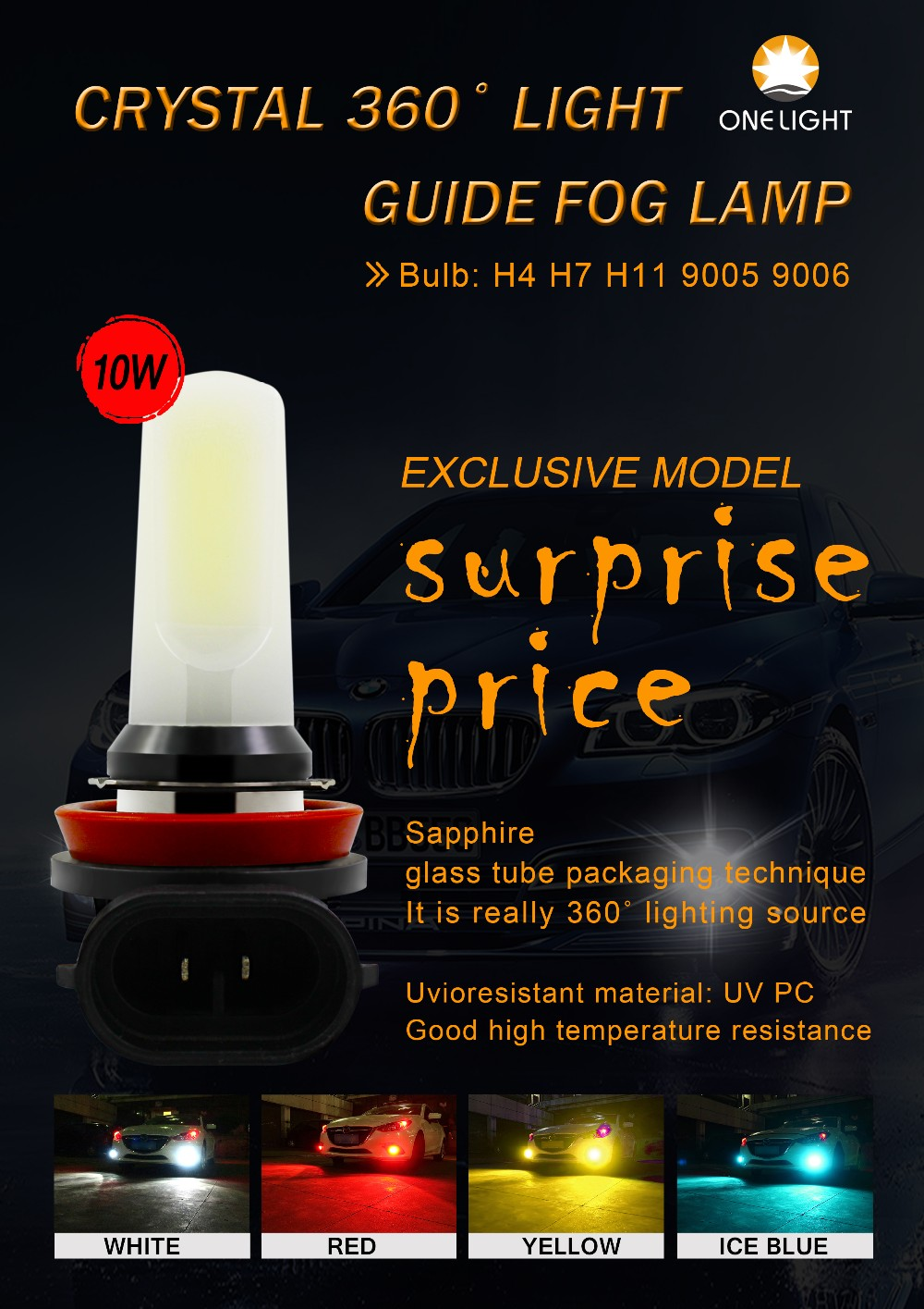 New design beautiful body LED Fog lamp Yellow Ice blue pretty color Universal Crystal light