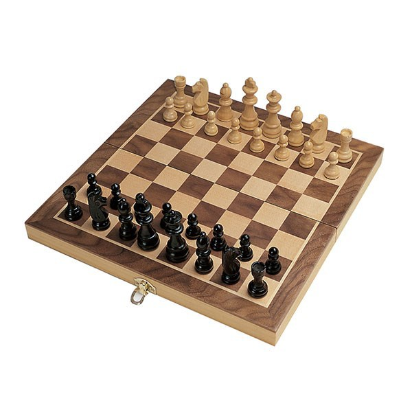 classical wooden chess game board of antique style