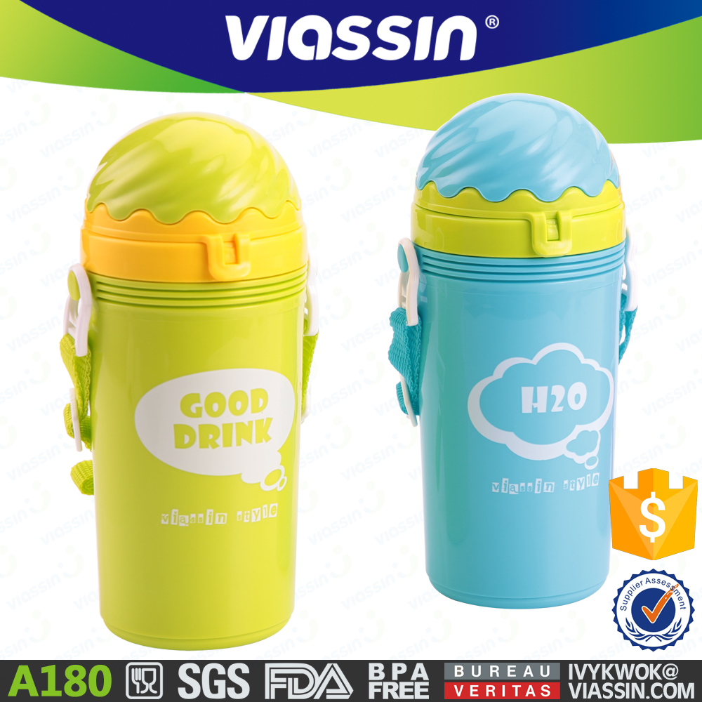 A180 new ice cream colorful plastic kids water bottle with straw 500ml