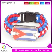 White thin line in middle Puerto Rico flag on survival paracord cord bracelet with side release buckle
