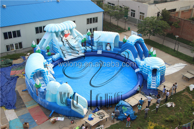 cheap inflatable water sliding games with detachable pool