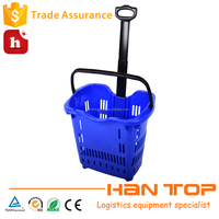 portable plastic rolling basket for shopping HAN-TB06 530