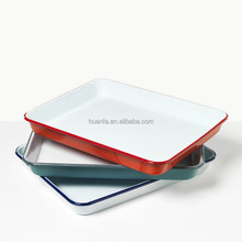 Enamelware Large Roasting Pan - Custom Color Butcher Tray Enamel Baking Tray