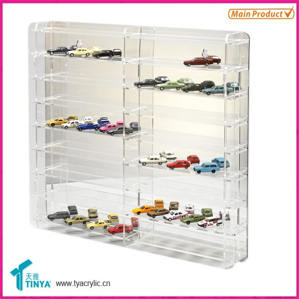 Custom 8-step Clear Glass Toy Car Display Box Hot Wheels Display Case Hold 64 Cars Acrylic Nascar Diecast Display Case