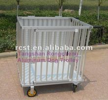 collapsible aluminum pet dog cage trolley