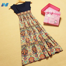 New Womens Lady Vintage Sleeveless Bohemian High waist Long Dress