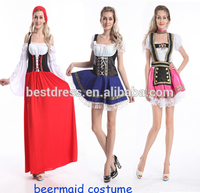China Supplier Sexy Bavarian Beer Girl Maid Ladies Oktoberfest Waitress Fancy Dress Costume