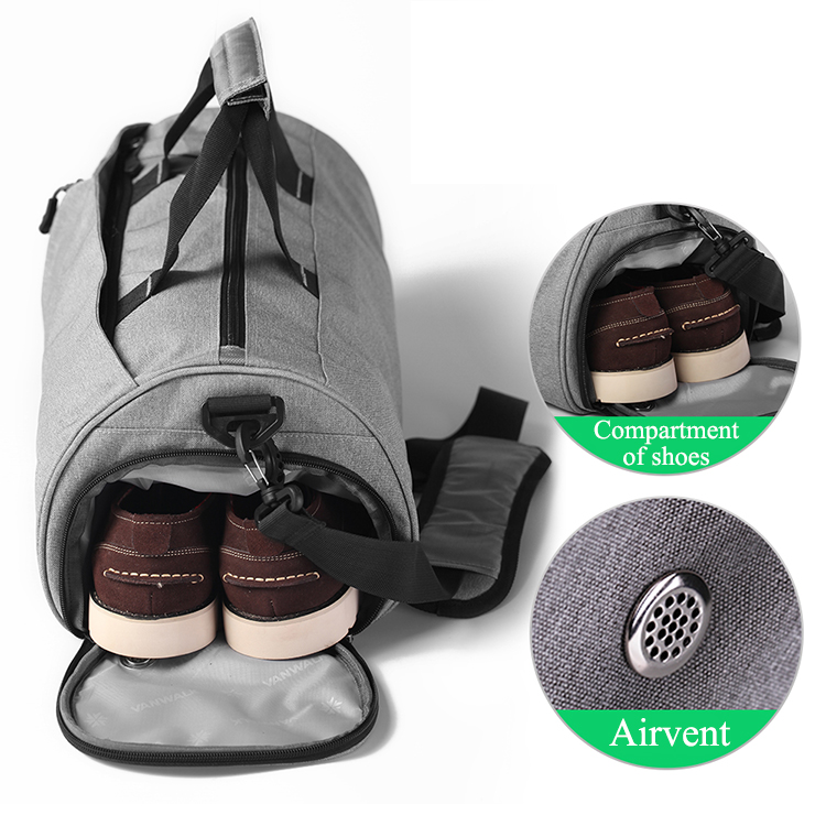 Wholesale custom mens ladies small waterproof washable duffle bag gym duffle with shoe compartment