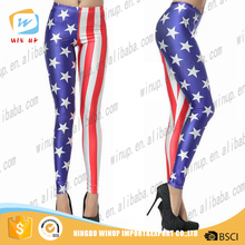 2016 Wholesale Tight Sport Leggings Flag Print Women Fitness Leggings