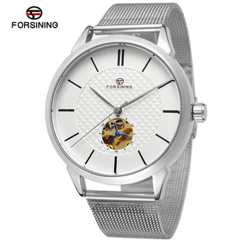 New Style Wrist Watches Branded Forsining Automatic jam tangan Chinese Movt Reloje Stainless Steel Mesh Bracelet mens watch
