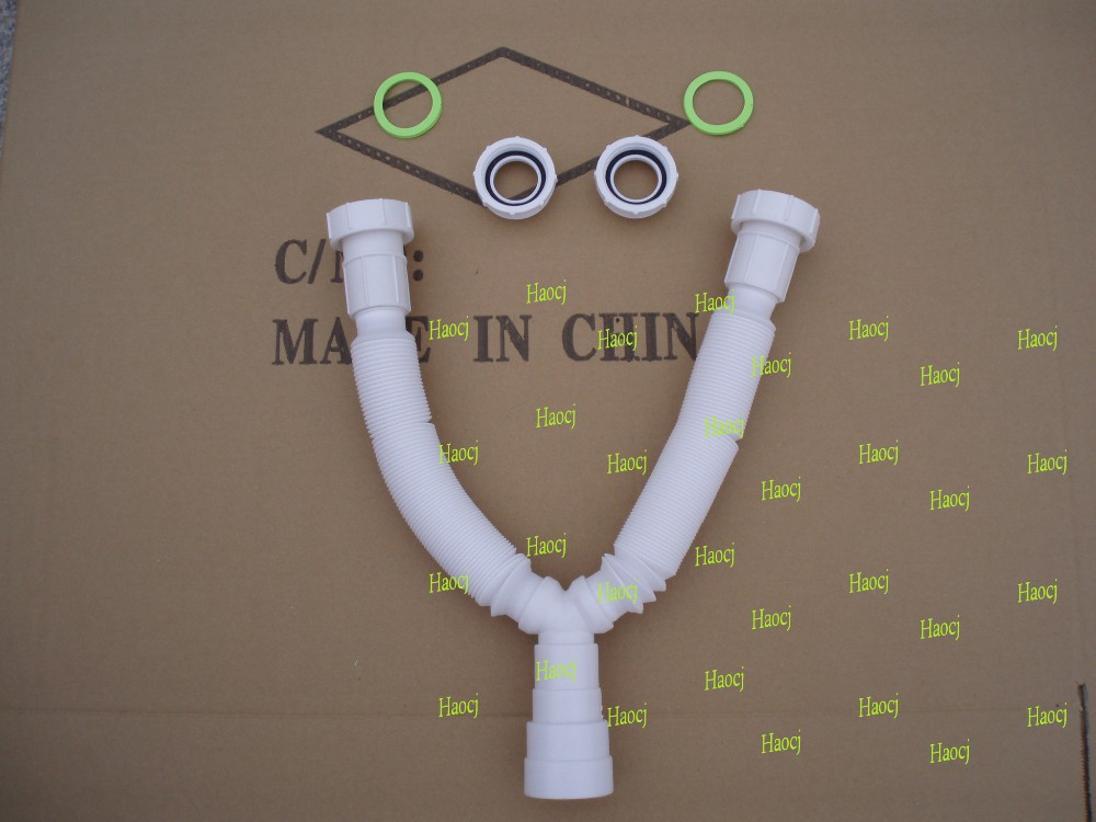 PVC plastic sink hose waste basin drain pipe double washbasin sink pipe
