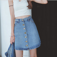 Korean high waist skirt female single breasted A-line denim dress pictures of long skirts and tops