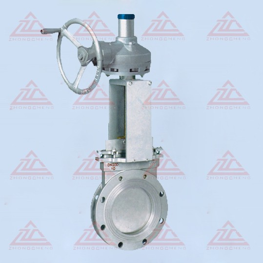 Slurry gate valve operated bevel gear