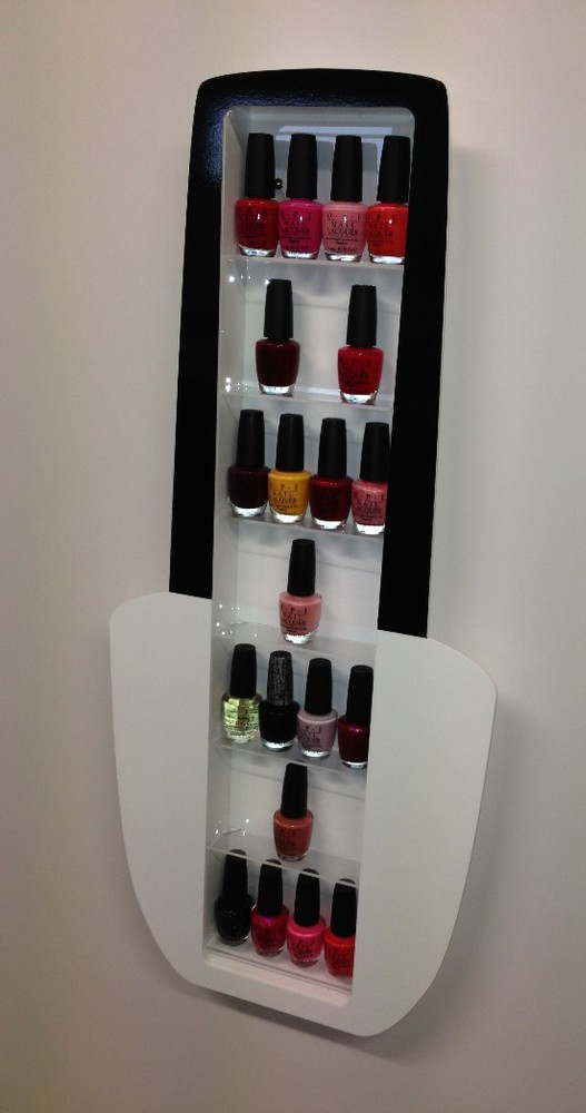 White Wall Mounted Nail Polish Bottle Shape Shelving