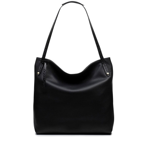 Splatter spot lining large zip top tote women black office handbag