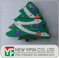 Christmas promotion gifts PVC USB flash drive, christmas trees USB flash disk