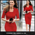 New Chic Summer Lady's Solid Blue Bodycon Office Work Party Dress/women 's dresses wholesale factory